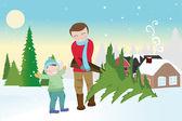 Otec a syn provedení vánoční stromeček — Stock vektor