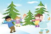 Children Playing Snowballs — Stock Vector