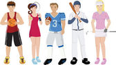 Athletes illustrations — Stock Vector