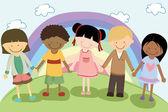Multi étnica niños — Vector de stock