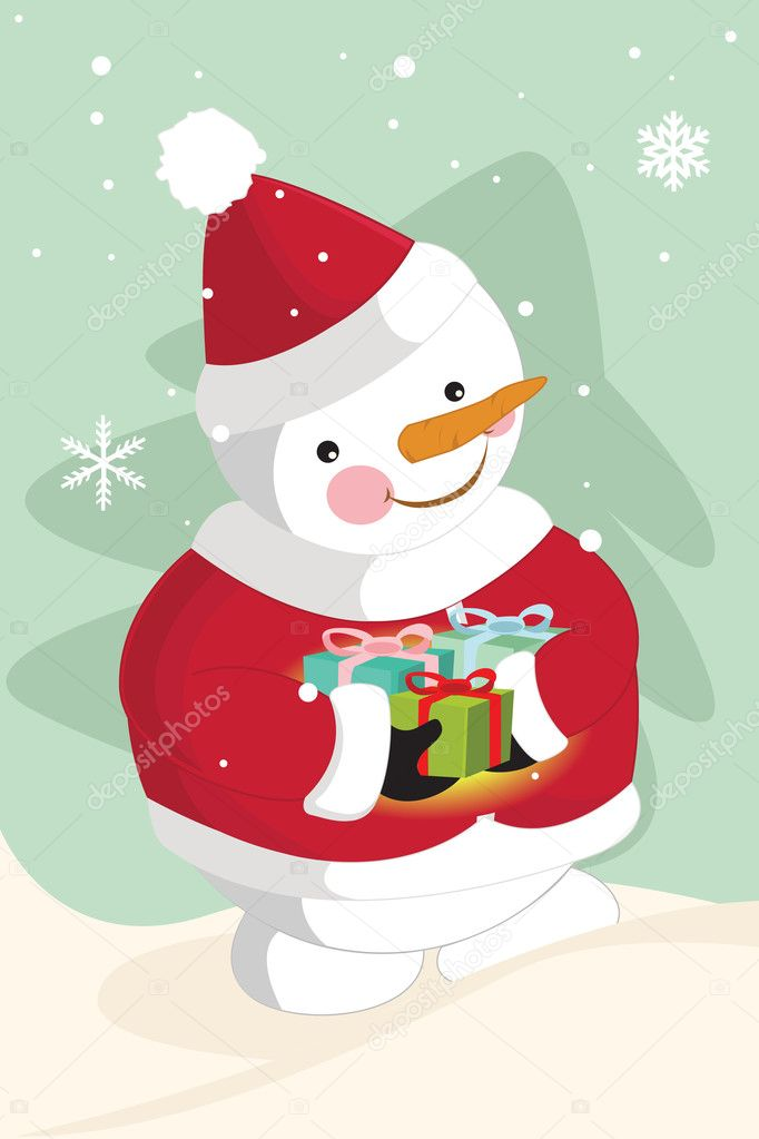 A vector illustration of Snowman carrying christmas gifts — Stock Vector #6490333