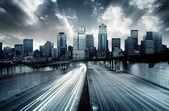 Paisaje urbano futurista — Foto de Stock