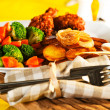 Royalty-Free Stock Photo: Fried potatoes broccoli carrots and roasted chicken