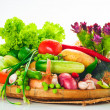Vegetables - cabbage, tomato, cucumber, onion, lettuce and so on — Stock Photo