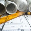 Foto Stock: Architectural plan,technical project and constructions