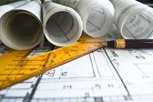 建筑计划、 技术项目和建筑 — 图库照片