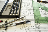 Architectural plan,technical project and constructions — Stock Photo