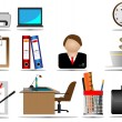 Stock Vector: Office end business icons