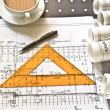 Stock Photo: Architectural plan,technical project and constructions