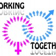 Work team concept. Men and Women. Vector illustration. - 