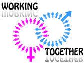 Work team concept. Men and Women. Vector illustration. — Stock Vector