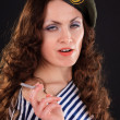 Girl in a military beret — Stock Photo