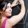 Pretty young college student drawing on the chalkboard/blackboar — Stock Photo #6148184