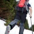 Young man cross-country skiing on a snowy forest trail (color to — Stock Photo