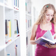 Pretty female college student in a library (shallow DOF; color t — Stock Photo #6148245