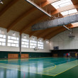 Interior of a modern multifunctional gymnasium with young — Stock Photo