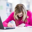 In the library - pretty, female student with laptop and books wo — Stock Photo #6148472