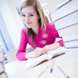 In the library - pretty, female student with laptop and books wo — Stock Photo #6148704