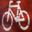 Urban traffic concept - bike/cycling lane sign in a city — Stock Photo #6149110