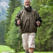 Active handsome senior man nordic walking outdoors on a forest p — Foto de Stock   #6149352