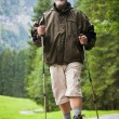 Active handsome senior man nordic walking outdoors on a forest p - ストック写真