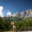 Man admiring a breathtaking mountain/alpine scenery (Val di Gard — Stock Photo #6149715