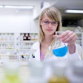 Portrait d'un chercheur femelle effectuent des recherches dans un chemi — Photo