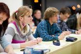 Ziemlich weibliche studentin sitzt in einem klassenzimmer voller stu — Stockfoto