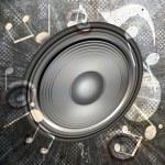 MUSICAL WALLPAPER — Stock Photo