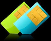SIM-CARD ON BLACK BACKGROUND — Stock Photo