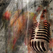 GRUNGE BACKGROUND WITH MICROPHONE — Stock Photo