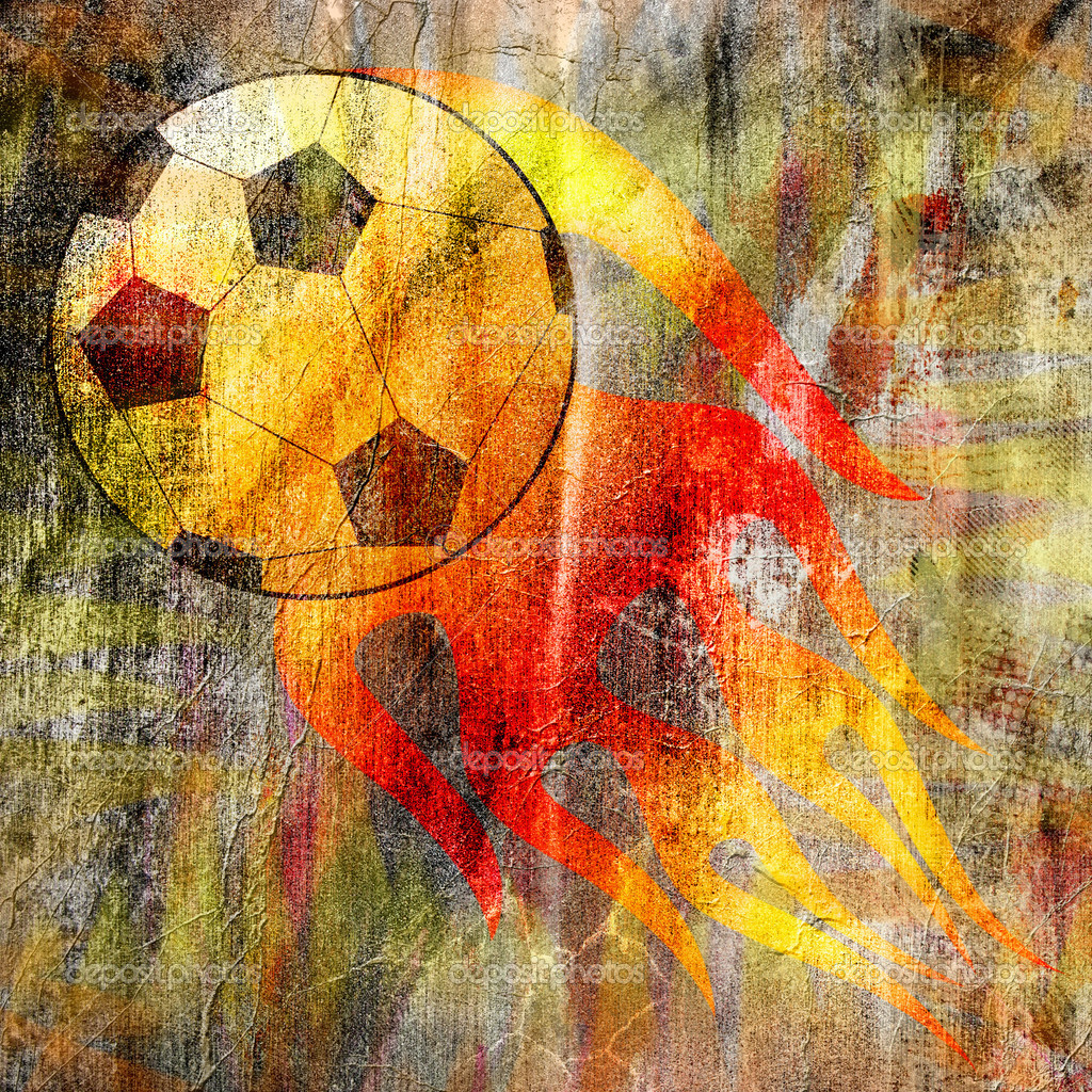 Grunge wallpaper with a football — Stock Photo #5551024