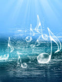 FLOATING MUSIC NOTES — Stockfoto