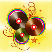 MUSICAL BACKGROUND WITH VINYL DISKS — Stock Photo