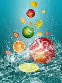 WALLPAPER WITH FRESH FRUIT — Stock Photo