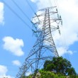 Stock Photo: Power transmission tower with cables