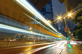 Traffic through downtown of Hong Kong at night — Stock Photo