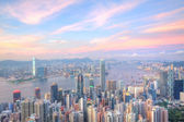 Hong Kong with many office buildings at sunset — Stock Photo