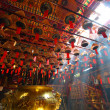 Man Mo temple in Hong Kong with many incense — Stock Photo