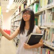 Young college student in library — Stock Photo