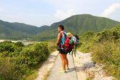 Asian man hiking at summer time — Stock Photo