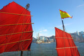 Junk boat flag along the harbour in Hong Kong — Stock Photo
