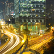 Dramatic and busy traffic in Hong Kong at night — Photo