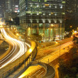 Dramatic and busy traffic in Hong Kong at night — Stock Photo