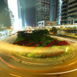 Stock Photo: Dramatic and busy traffic in Hong Kong at night