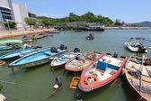 Fishing boats along the pier in Hong Kong — Stock Photo