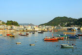 Coastal area with many fishing boats in Lamma Island, Hong Kong. — Stock Photo