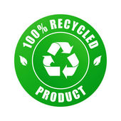 100% recycled label — Stock Vector