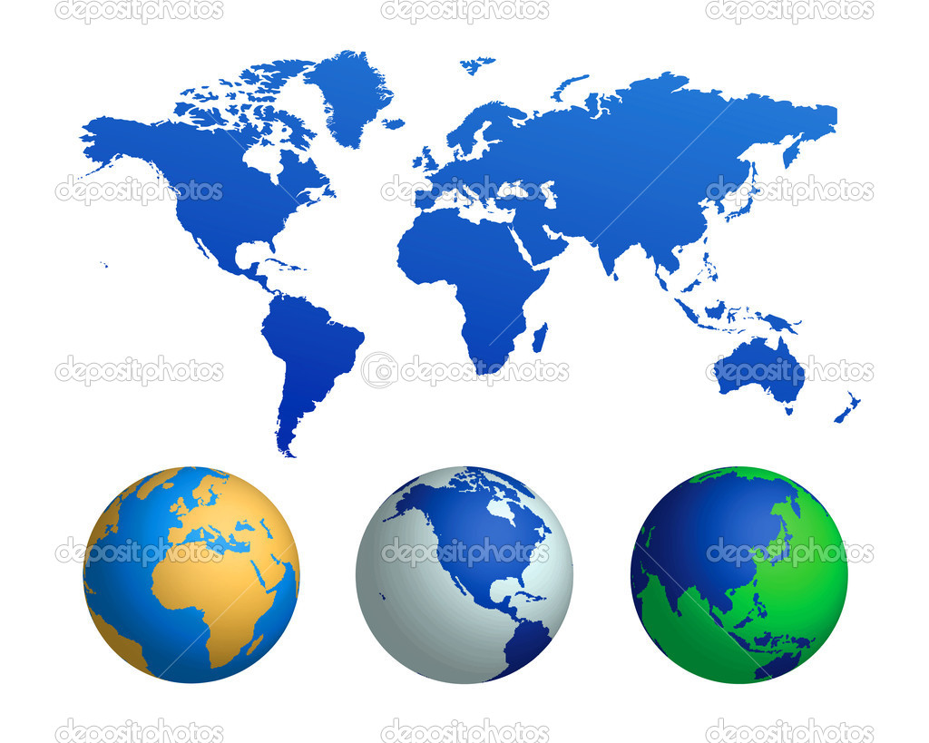 Vector illustration of a world map and globes isolated on a white background — Stok Vektör #6193590