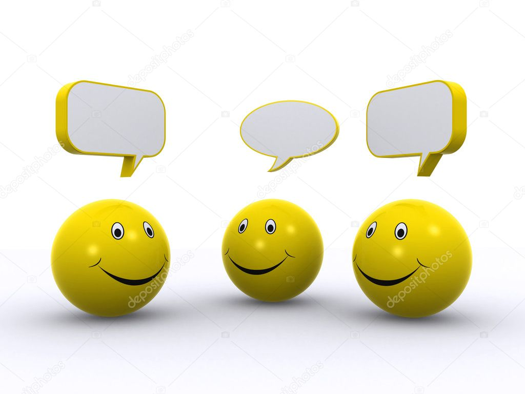 Three smileys chatting (3d render)  Stock Photo #6294000